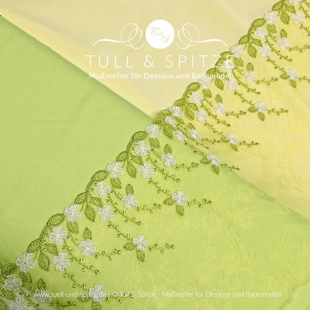 Dessousstoffe und Spitzen | Wäschestoffe gelb und grün mit Stickspitze
