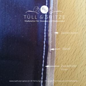 Zwickel im Slip einnähen | Zwickel in Stufen zurückschneiden
