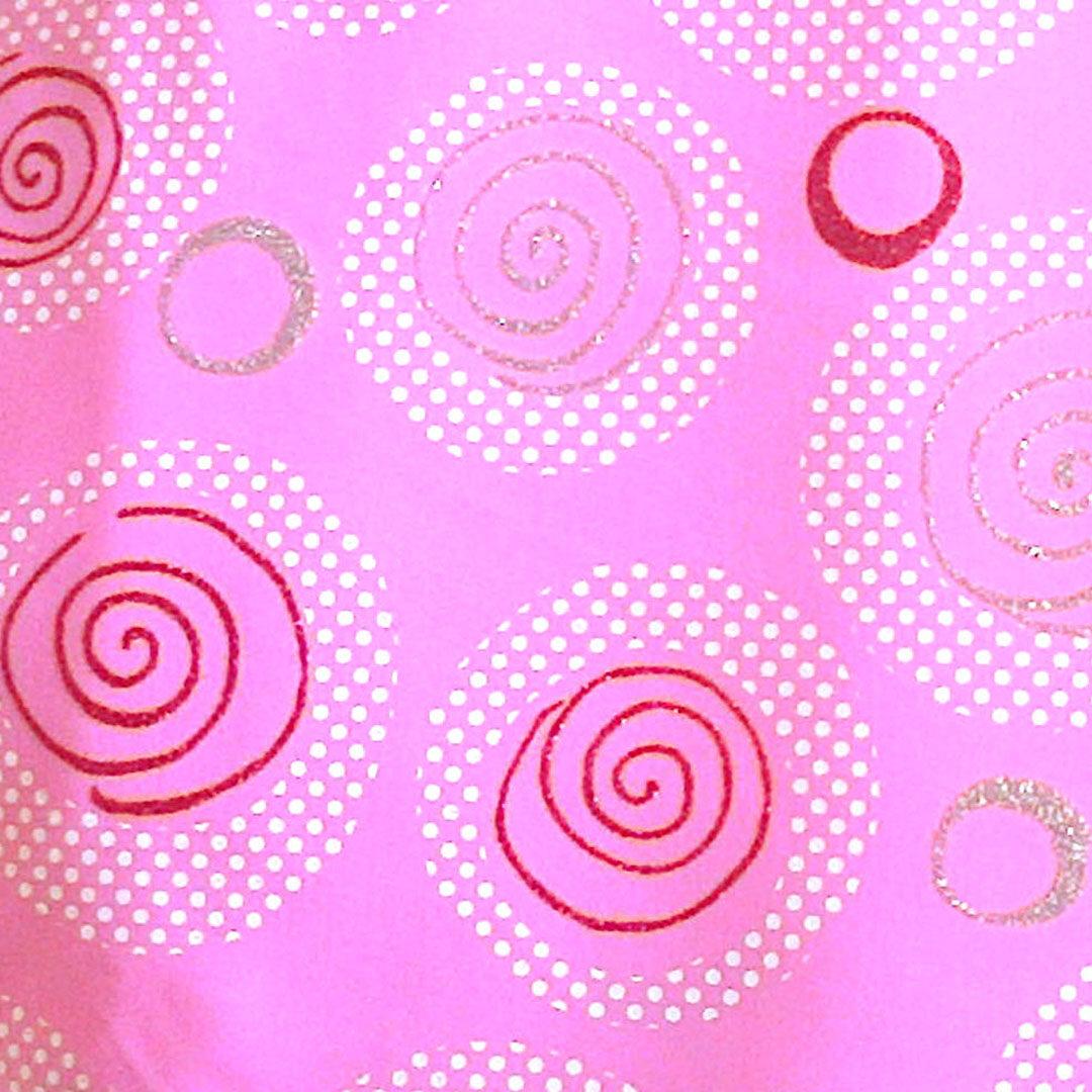 Badestoff Rosa mit Kringeln in Weiß Pink und Silber