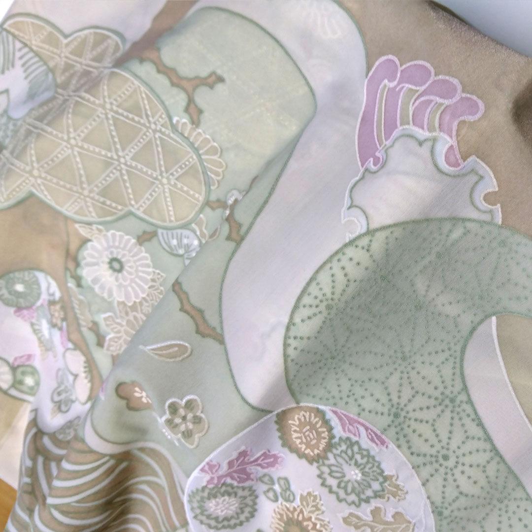 Mikrofaser Beige, Hellgrün, Rosa, Elfenbein gemustert