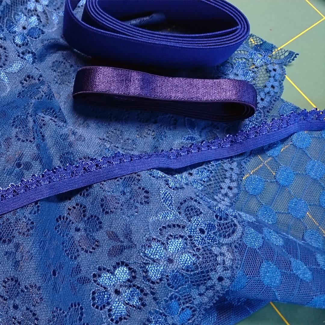 Materialpaket Bralette, Powernet und Spitze Royalblau