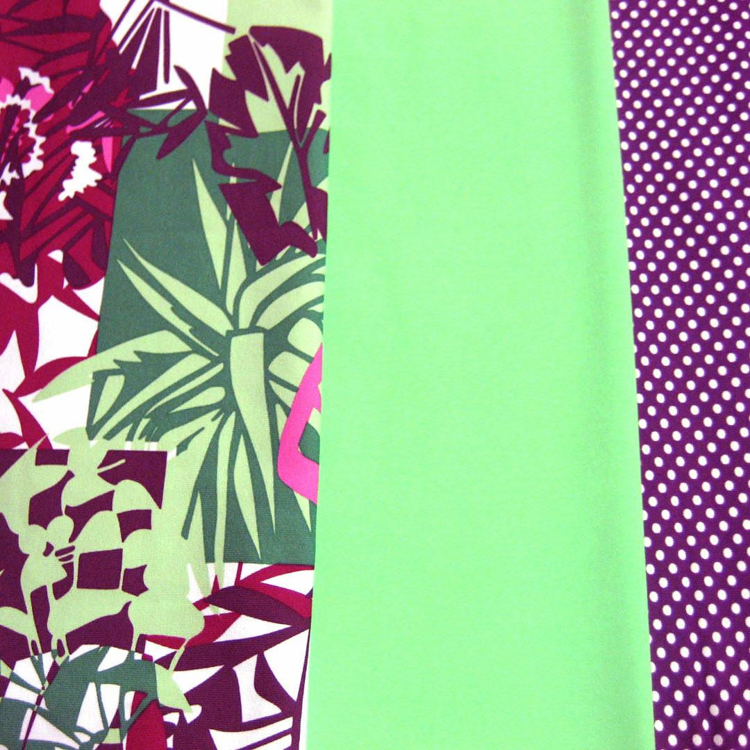 Materialpaket Badestoffe Grün, Lila mit weißen Punkten und Grün-Lila gemustert