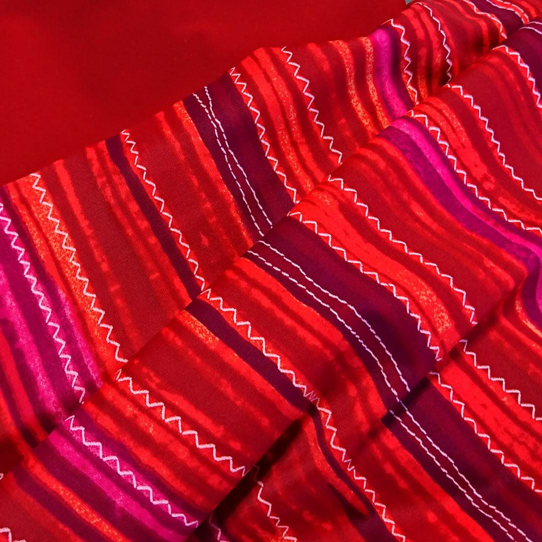 Materialpaket Slip, Mikrofaser uni Rot und Rot gestreift