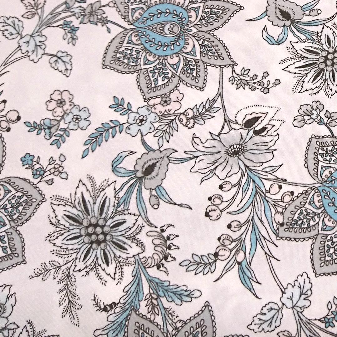 Mikrofaser weiß mit Blumen in Grau und Türkis