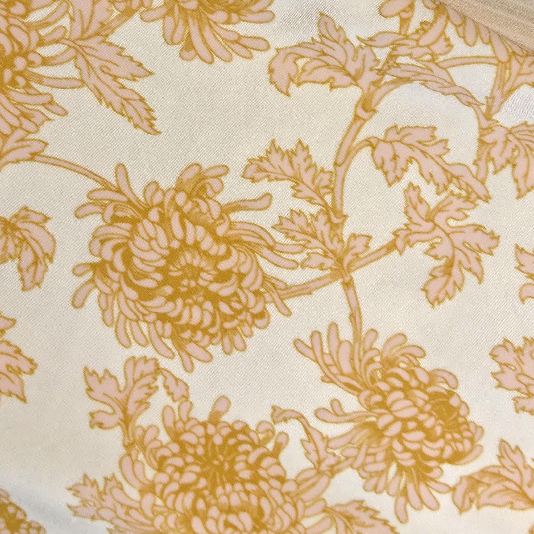 Mikrofaser Champagner mit goldgelben Blumen
