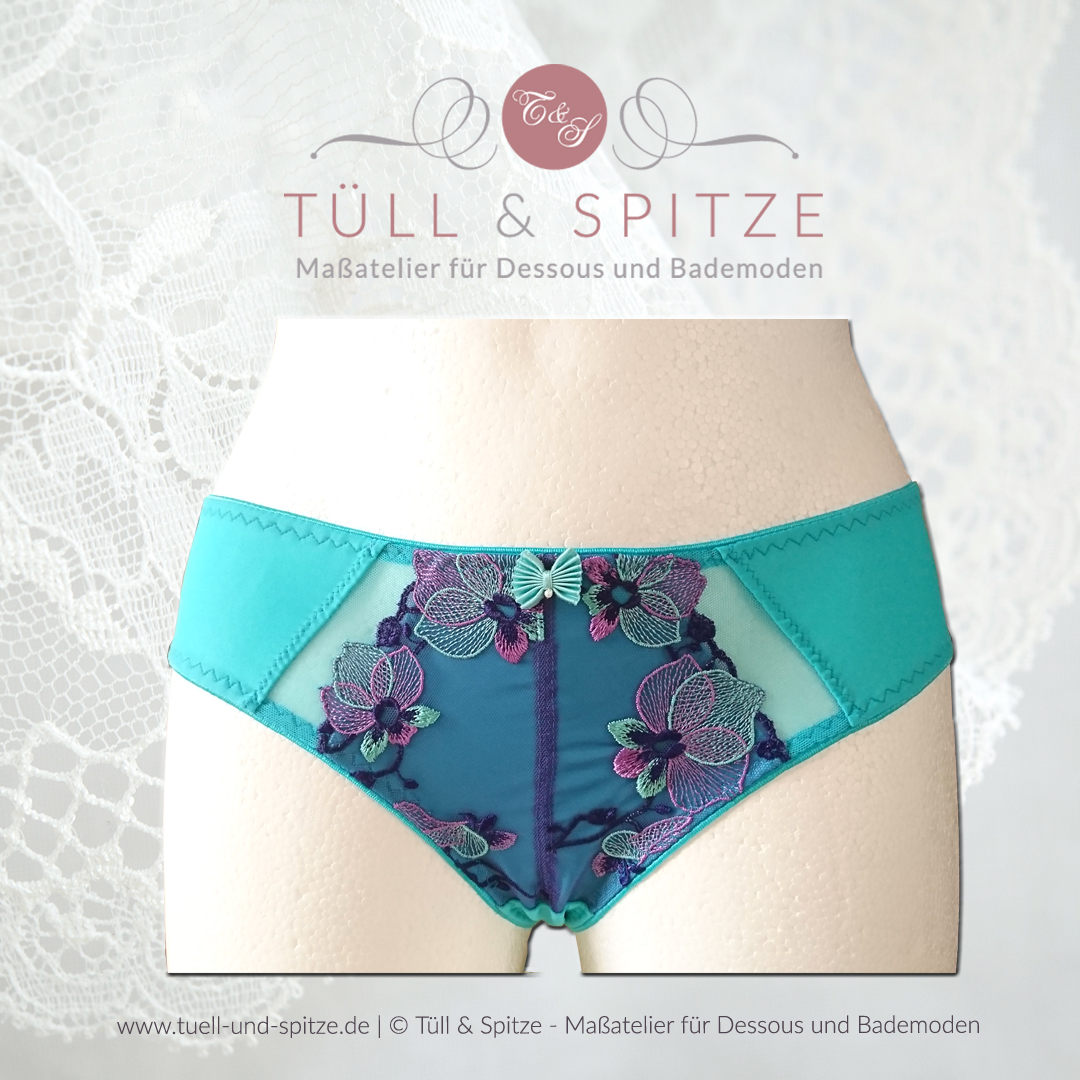 "Shop | Schnittmuster Tüll & Spitze, Slip ""Emma"" (Türkis)"
