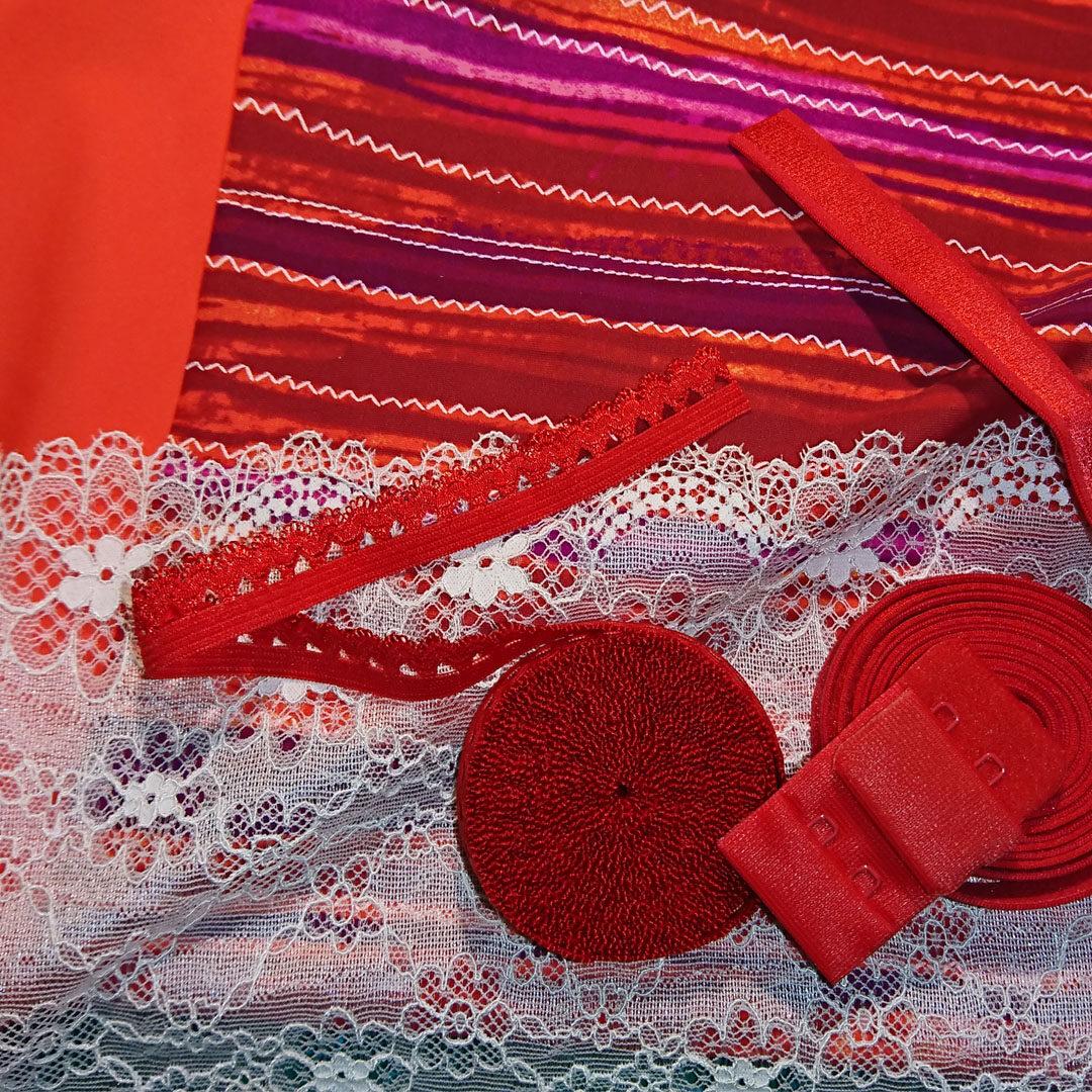 Shop | Materialpaket BH, Rot/Streifen (M)